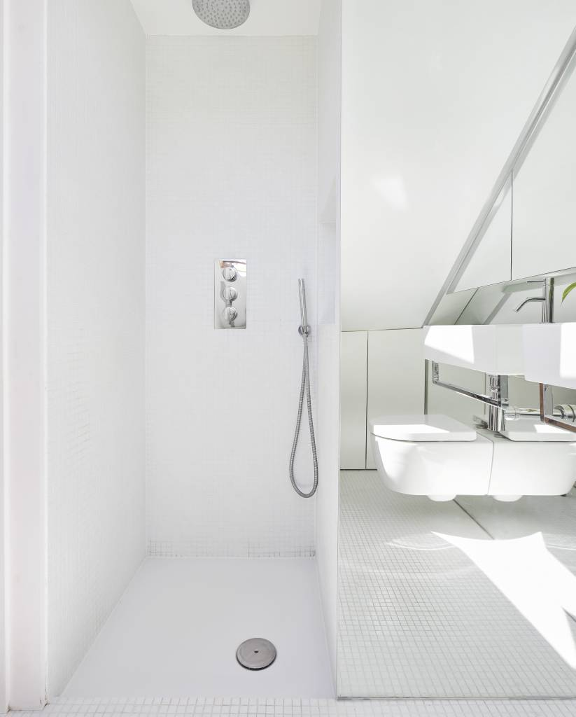 Hover House, a house in West London. The new shower room with glass mosaic
