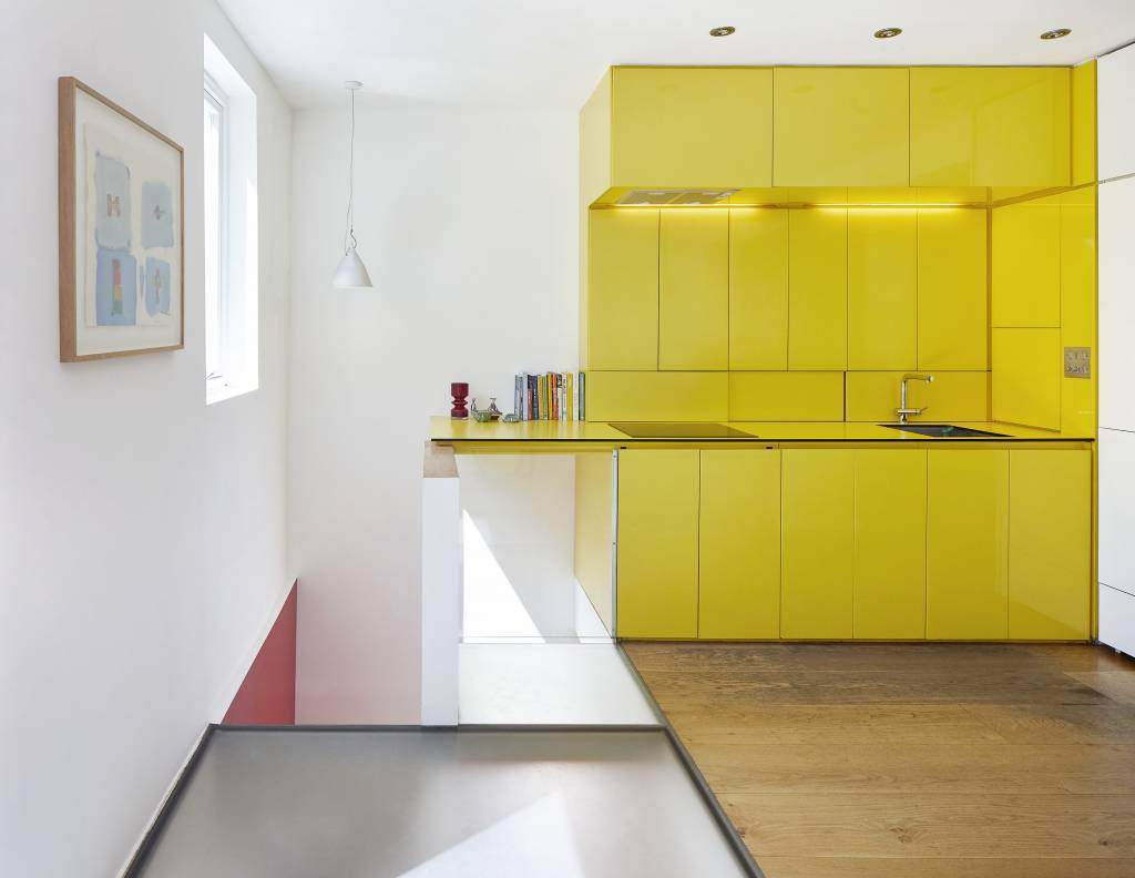 Hover House, a house West London with the new yellow kitchen
