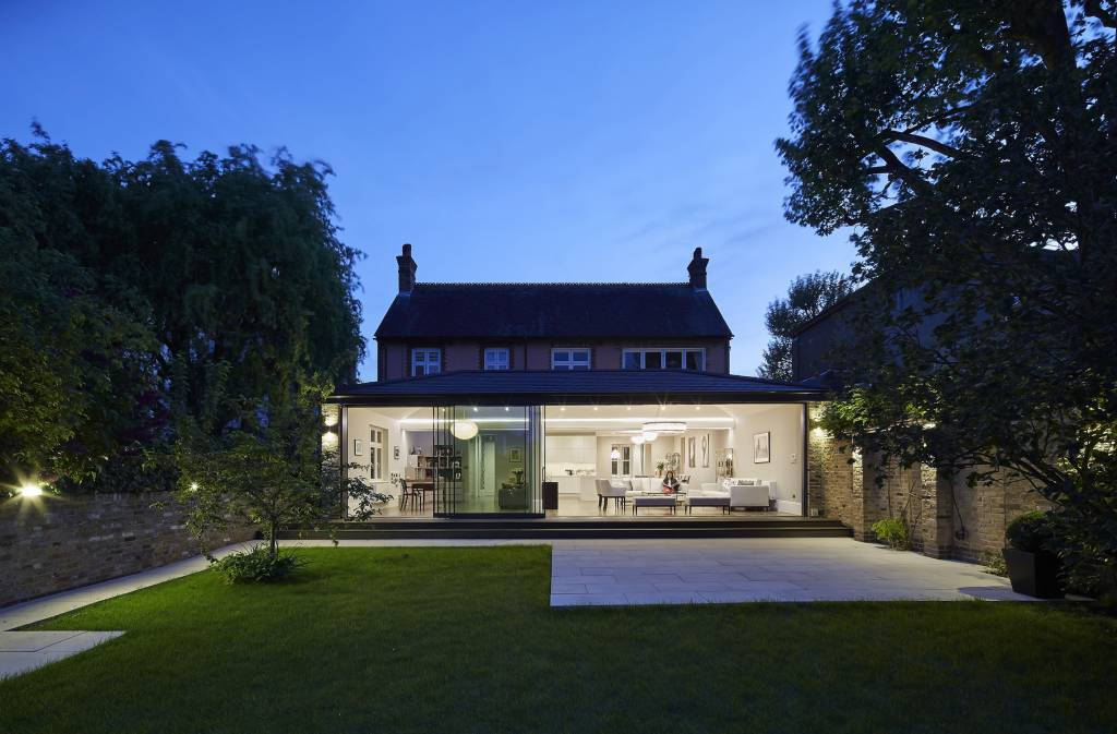 house-extension, The-Sunday-Times-British-Homes-Awards, london-house, victorian-house, glass-extension, London, Natural-light, Glass-sliding-doors, Glass-roof, white-kitchen, natural-light