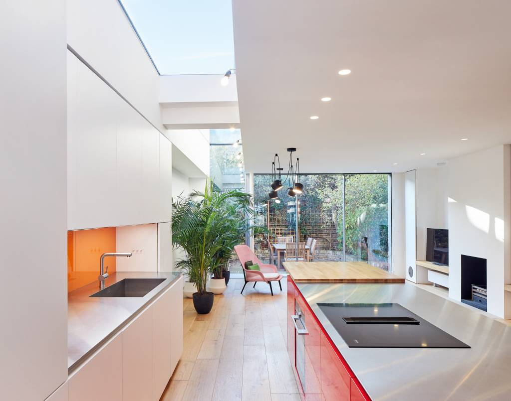 house-extension, london-house, victorian-house, glass-extension, London, Natural-light, Glass-sliding-doors, Glass-roof, Indoor-plants